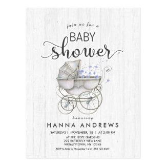 White Wood & Carriage Boy Baby Shower Invitation Postcard