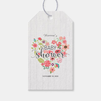 White Wood Floral Heart Girl Baby Shower Thank You Gift Tags