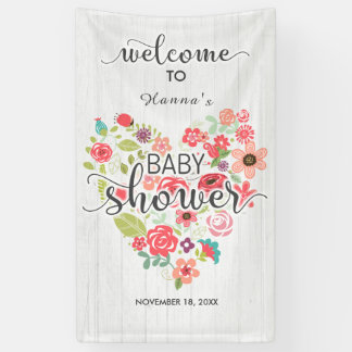 White Wood Floral Heart Girl Baby Shower Welcome Banner