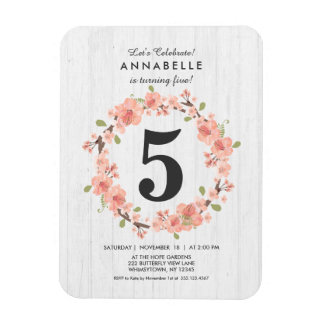 White Wood Peach Floral Birthday Party Invitation Magnet