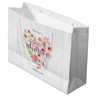 White Wood & Pink Floral Heart Girl Baby Shower Large Gift Bag