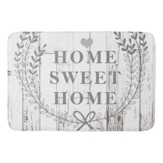 White Wood Rustic Farmhouse Home Sweet Home Bath Mat
