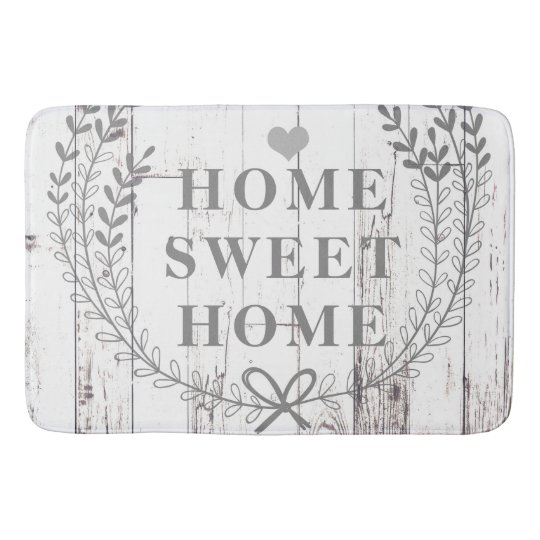 White Wood Rustic Farmhouse Home Sweet Home Bath Mat