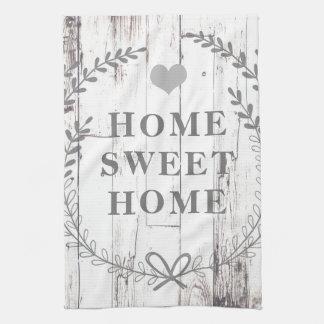 White Wood Rustic Farmhouse Home Sweet Home Custom Kitchen Towel