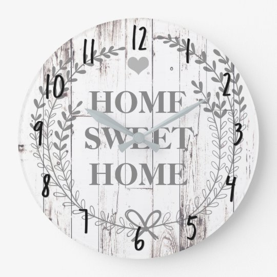 White Wood Rustic Farmhouse Home Sweet Home Large Clock