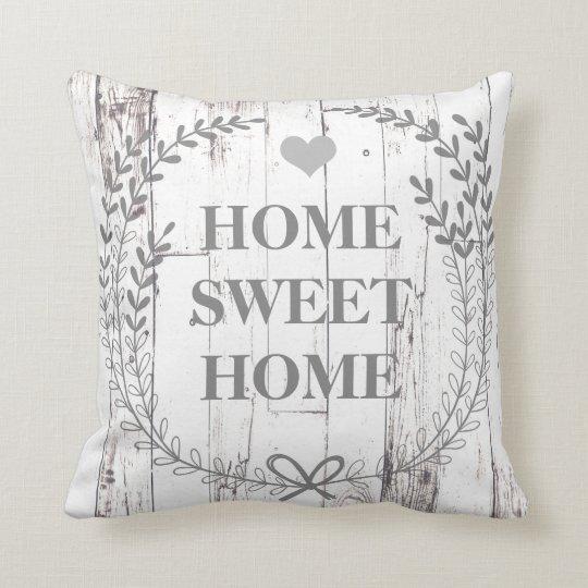 White Wood Rustic Farmhouse Home Sweet Home Throw Pillow