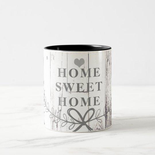 White Wood Rustic Farmhouse Home Sweet Home Two-Tone Coffee Mug