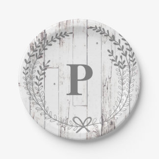 White Wood Rustic Farmhouse Monogram Wedding Paper Plate