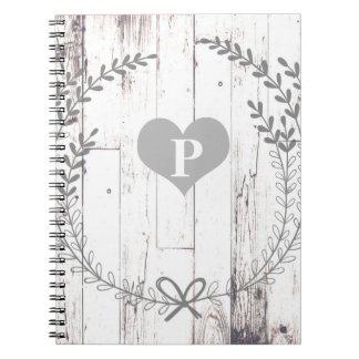 White Wood Rustic Farmhouse Shabby Chic Notebook