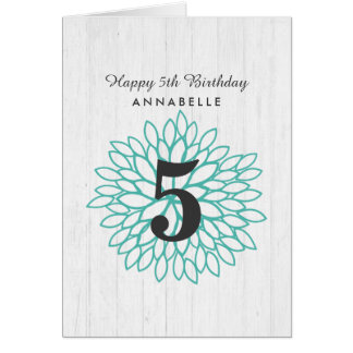 White Wood & Teal Floral Wreath Happy Birthday Card