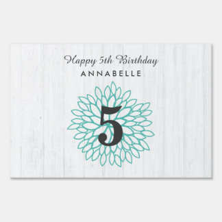 White Wood & Teal Floral Wreath Happy Birthday Sign
