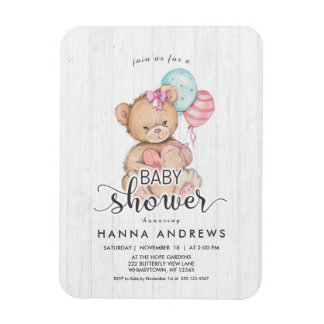 White Wood Teddy Bear Girl Baby Shower Invitation Magnet