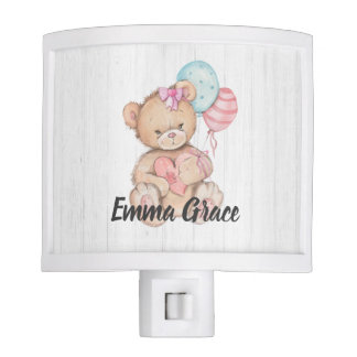 White Wood & Teddy Bear Heart Baby Girl Monogram Nite Light