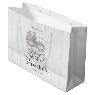 White Wood & Vintage Carriage Boy Baby Shower Large Gift Bag