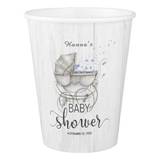 White Wood & Vintage Carriage Boy Baby Shower Paper Cup