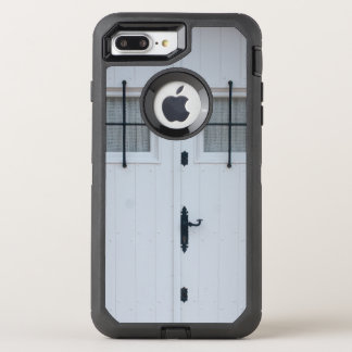 White Wooden Door With Black Wrought Iron Works OtterBox Defender iPhone 7 Plus Case