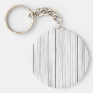 White wooden wall texture basic round button keychain