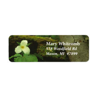 White Woods Flower Address Label