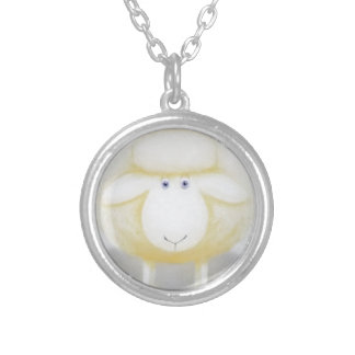 White Woolly Sheep For Ewe Silver Plated Necklace