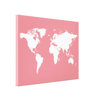 white world-map on pink canvas print