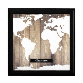 White World Map Rustic Wood Planks Custom Name Gift Box