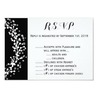 White Wreath on Black R.S.V.P. Card