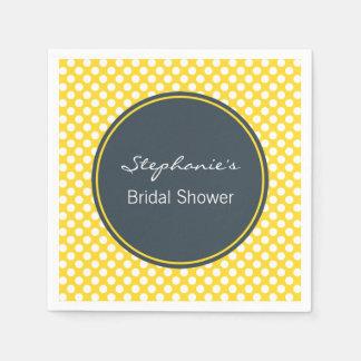 White, Yellow and Charcoal Polka Dot Bridal Shower Disposable Napkins