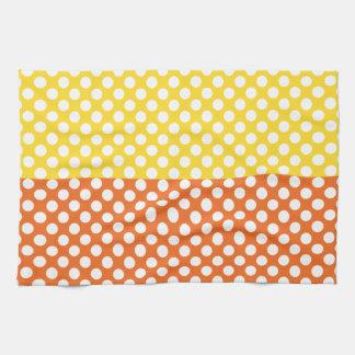 White, Yellow and Orange Polka Dot Kitchen Towel