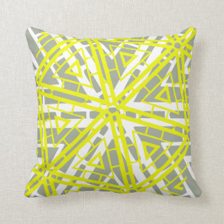White Yellow and Warm Grey abstract pattern pillow