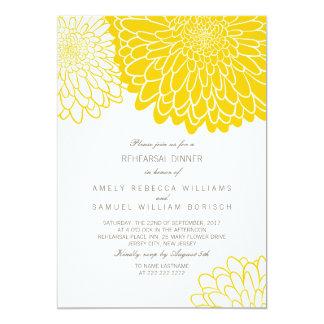 White Yellow Chrysanthemum Rehearsal Dinner Invite