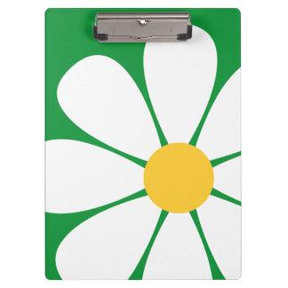 White & Yellow Daisy Flower on Kelly Green Clipboard