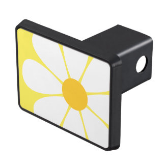 White & Yellow Daisy Flower Trailer Hitch Cover