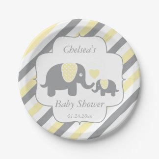 White, Yellow & Gray Stripe Elephants Baby Shower Paper Plate
