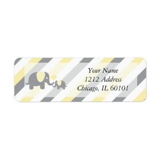White, Yellow & Gray Stripe Elephants Baby Shower Return Address Label