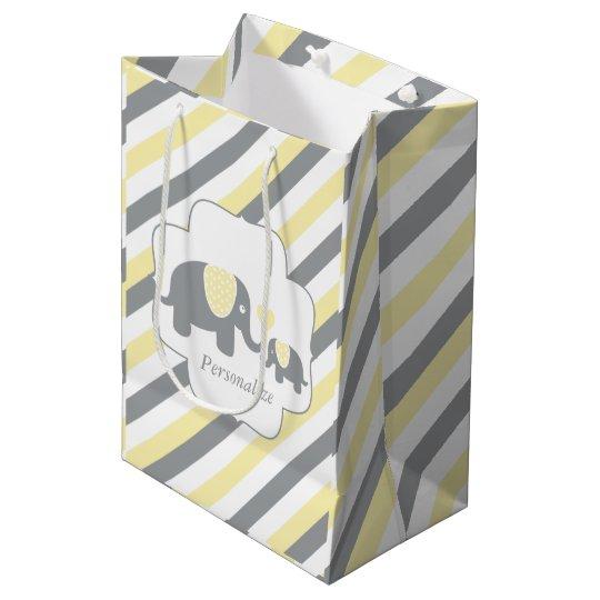 White, Yellow & Grey Stripe Elephants Baby Shower Medium Gift Bag