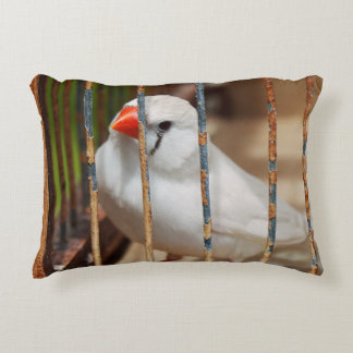 White Zebra Finch Bird in Cage Decorative Pillow