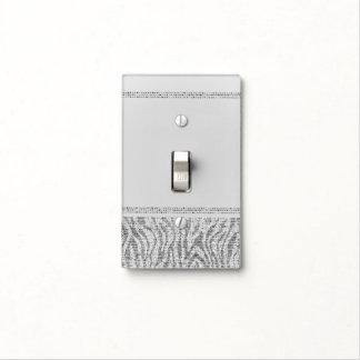 White Zebra Sparkle Sequins Glam Elegant Modern Light Switch Cover
