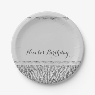 White Zebra Sparkle Sequins Glam Modern Party Paper Plate