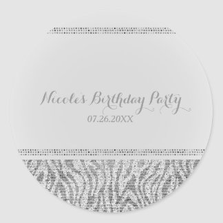 White Zebra Sparkle Sequins Glam Party Favor Chic Classic Round Sticker