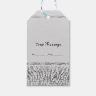 White Zebra Sparkle Sequins Glam Party Favor Chic Gift Tags