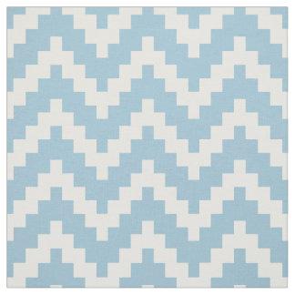White Zigzag Ikat & Custom Baby Blue Background Fabric