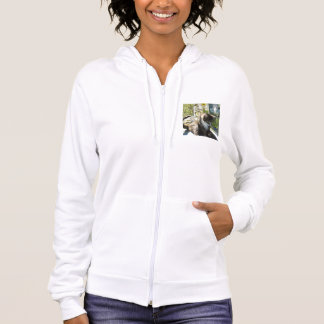 White Zip Hoodie with Cute Cat, Flowers and Fairy