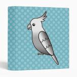 Whiteface Cartoon Cockatiel Parrot Bird 3 Ring Binder