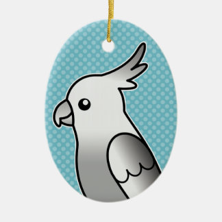 Whiteface Cartoon Cockatiel Parrot Bird Ceramic Ornament