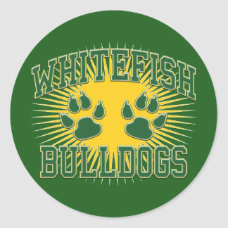 Whitefish Bulldogs Tackle & Twill Classic Round Sticker