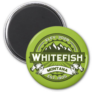 Whitefish Logo Green Magnet