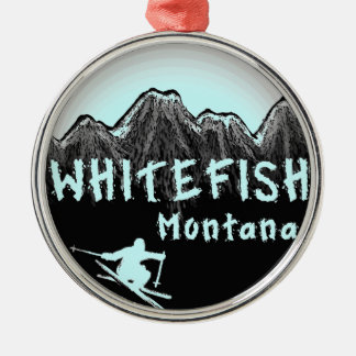 Whitefish Montana artistic skier Silver-Colored Round Ornament