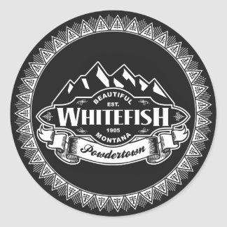 Whitefish Mountain Emblem Classic Round Sticker