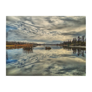 Whiteshell Autumn Reflection Wood Panel Wood Prints