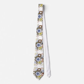 Whitesteampunk print tie, gears, cogs, clock art tie